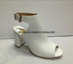 Lady Kid Leahter Shoe Square Heel Women Sandals pictures & photos