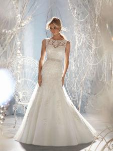 Chiffon Beading Beach Bridal Dress Sleeveless Wedding Dress pictures & photos