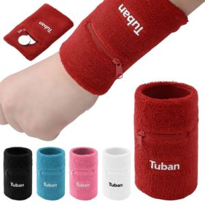 Embroidery Cotton Custom Zip Pocket Sports Sweatbands pictures & photos