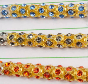 High-End Hand-Stitched Crystal Diamond Chain Clothing Collar Rhinestone for Wedding Dress Accessories (TCG-5mm gold chain) pictures & photos