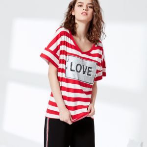 Fashion 2 Design Way Embroidery Sequins Striped Jersey T-Shirt pictures & photos