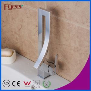 Fyeer Fashion Design Square High Body Chrome Plated Single Handle Brass Basin Faucet Water Sink Mixer Tap Wasserhahn pictures & photos
