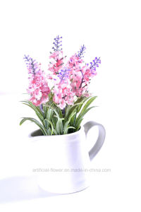 Kinds of Artificial Floking Flower Lavender in Ceramic Pot for Decoration pictures & photos