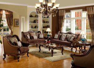 Classic Wooden Fabric Sofa for Living Room Traditional Home Furniture Set pictures & photos