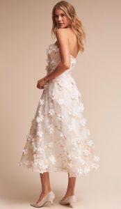 3D Flowers Strapless Tea-Length Wedding Dress pictures & photos