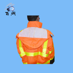 Adult Waterproof Popular Raincoat with Reflective Tape pictures & photos