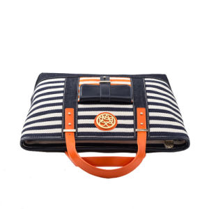 Hot Selling QQ Bear Ladies Stripe Canvas & PU Tote Handbag (QC-15043A) pictures & photos