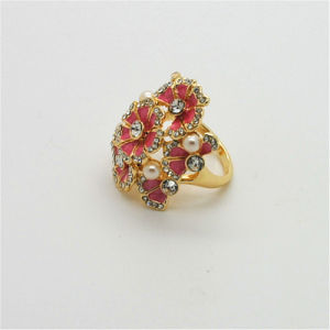Big Size Flower Ring Gold Plating Exaggerated Party Banquet Finger Dress Lady Jewelry (R130019)