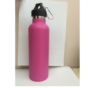 750ml Double-Wall 304 Stainless Steel Standard-Mouth Insulated Water Bottle with Pink Powder Coating