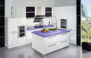High Gloss Lacquer Kitchen Cabinet with Purplr Color Table Top pictures & photos