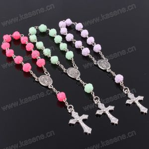 Fashion Plastic Flower Bead Saint Catholic Rosary Prayer Bracelet