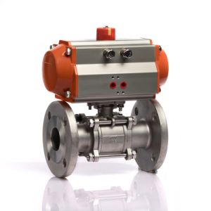 Stainless Steel Material Pneumatic Actuator Flange Ball Valve pictures & photos
