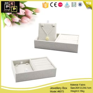 Female Wooden Custom White Fabric Box for Jewelry (8073) pictures & photos