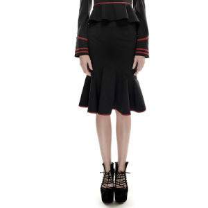 Q-286 Black and Red Drawstring Fishtail Military Uniform Style Slim-Fitting Version Skirt pictures & photos