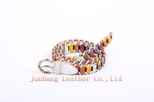 Lady′s Stretch Braided Woven PU Belt