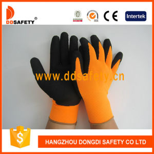 Ddsafety 2017 Fluorescent Nylon Black Latex Safety Glove pictures & photos