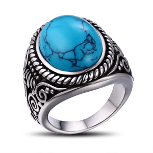 Wholesale Bezzel Setting Turquoise Stone Ring pictures & photos