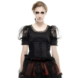 Lt-006 Punk Rave Black Lolita O-Neck Lace Skinny Short Sleeves T-Shirts pictures & photos