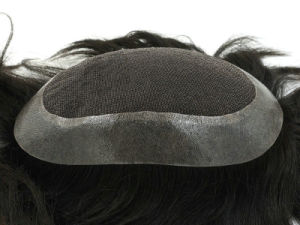 100% Men′s Virgin Remy Human Hair Toupee with French Lace Base pictures & photos