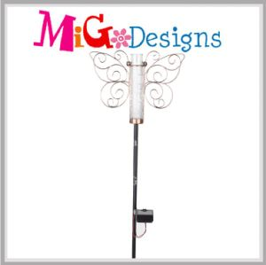 Solar Popular Metal Garden Decoration Dragonfly Rain Gauge Stake pictures & photos