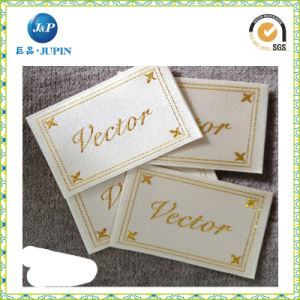 Custom Gold Logo High Density Polyester Woven Labels for Clothing (JP-CL153) pictures & photos