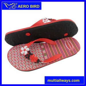 PE Fashion Slipper with Flower Strap for Ladies (T1643-BLACK) pictures & photos