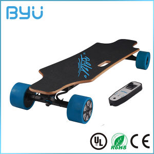 Custom Printing Solid Wood Deck Four Wheel Electric Skateboard