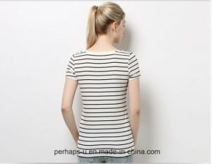 Sweet Womens Cotton T-Shirt with Stripe Print pictures & photos