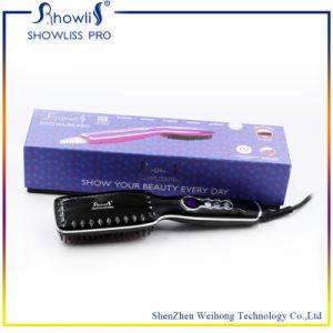 Professional Ceramic Hair Straightener Brush and LCD Temperature Display pictures & photos