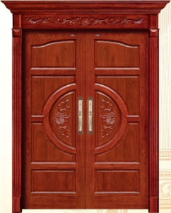 China Luxury Double Wooden Door with Carving pictures & photos
