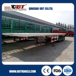 Obt Brand 3 Axle Flat Bed Container Semi Truck Semi Trailer pictures & photos