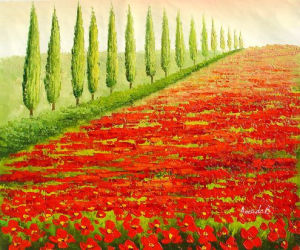Handmade Modern Wall Art Canvas Red Flowers Green Tree Landscape Oil Painting (LH-337000) pictures & photos