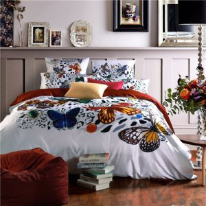 Butterly Polyester Print Bedding Quilt (set) pictures & photos