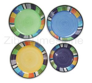 Placa de jantar pintada à mão em grés (TM7314)