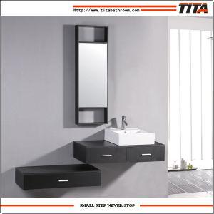 Mobília preta lustrosa T5145b do armário de banheiro