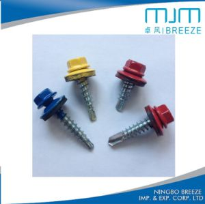 Vis Drilling peinte colorée de toiture de vis de rondelle d'individu Hex de tête