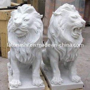 mrmol blanco tallado de piedra estatua de leones escultura para el jardn al aire libre