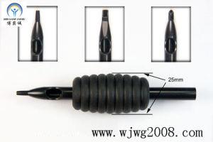 """3/2 jetable de poignées en caoutchouc noires de tatouage nouveau """" (38mm) avec Incliner-Épais noir"""