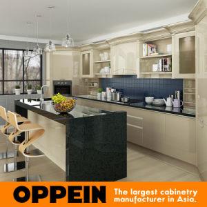 Armarios de madera de la cocina de la laca amarilla clara moderna de Oppein (OP16-L12)