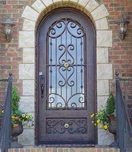 puerta de hierro forjado de doble entrada para la casa