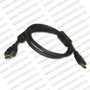 Plaqué or mâle à mâle câble HDMI avec 2 ferrites