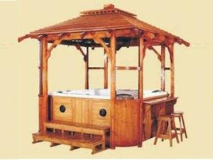 jacuzzi de madera al aire libre spa house