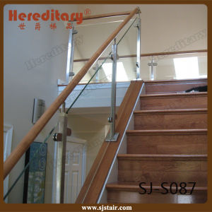 pasamano de cristal de madera de interior de la escalera del acero inoxidable de la barandilla sjs