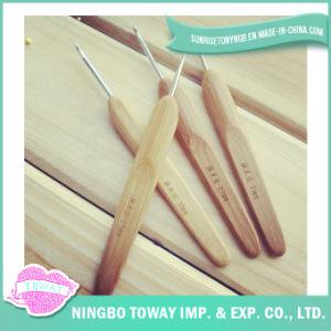 Laines en aluminium bon marché tricotant à la main les crochets de crochet en bambou
