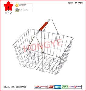 Panier à provisions en métal de fil de supermarché (OW-BW002)