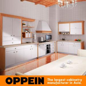 Gabinetes de cocina de madera blancos del estilo de país de Oppein con la isla (OP10-L039)