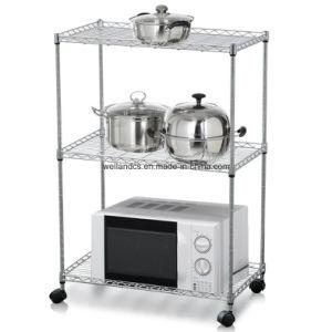 cr maill re noire universelle de four microondes cuisine en m tal avec des roues cr maill re. Black Bedroom Furniture Sets. Home Design Ideas