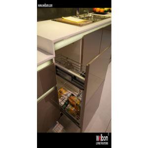 높은 광택 있는 회색 래커 부엌 찬장의 큰 냉장고 – 높은 광택 ...