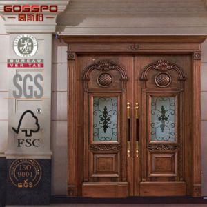 la entrada principal de villa doble interior de madera de caoba puertas de madera
