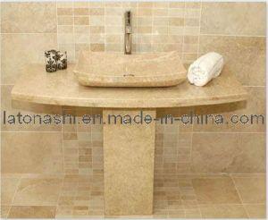 Cuarto de ba o de piedra pedestal beige ss01 cuarto de for Cuartos de bano beige